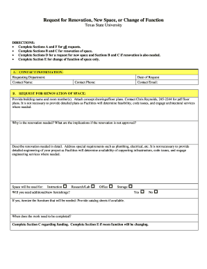 Fillable Online gato-docs its txstate Space Allocation Request Form