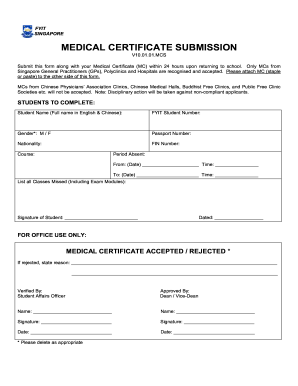 SINGAPORE MEDICAL CERTIFICATE SUBMISSION