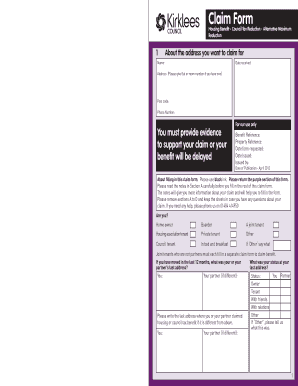 Housing Benefit and Council Tax Reduction claim form