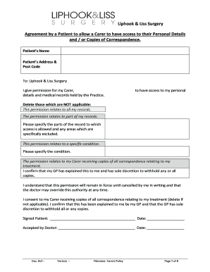 Fillable Online liphookandlisssurgery co Patient Agreement form ...
