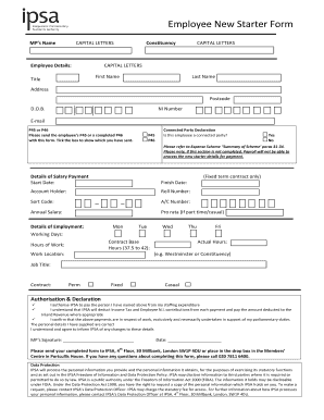 Fillable Online Employee New Starter Form - Independent ...