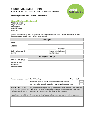 change circumstances housing benefit form Templates - Fillable ...