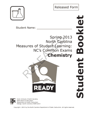spring 2013 north carolina chemistry exam released answers form