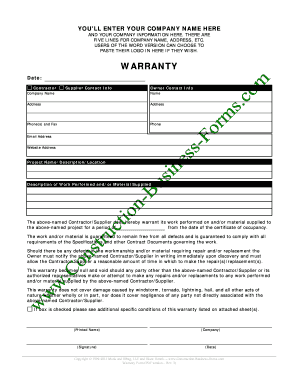 Construction Warranty Forms From Google Search - Fill Online ...