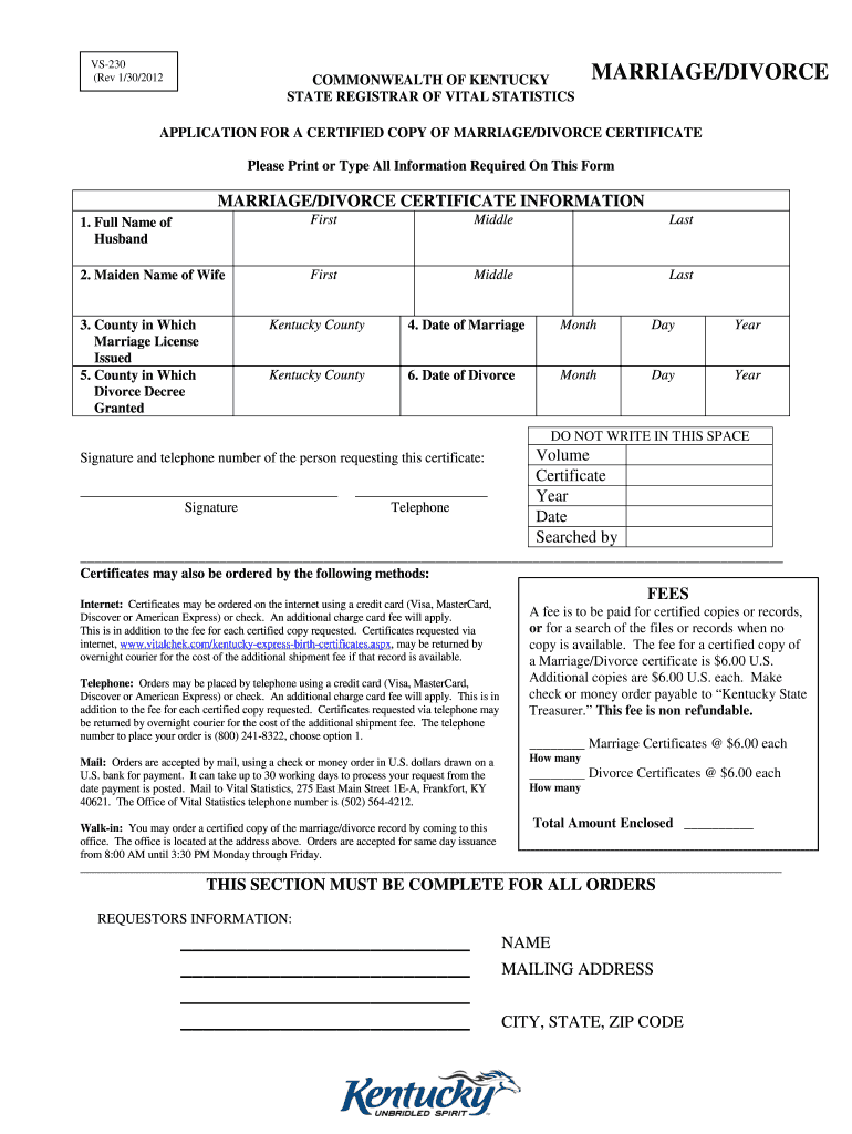 Divorce In Kentucky >> 2012 2019 Form Ky Vs 230 Fill Online Printable Fillable