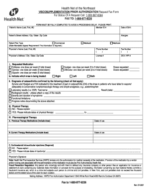HealthNet Northeast Prior Authorization Form (PDF) - Synvisc