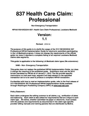 Fillable Online 837 Health Care Claim: Professional Non-Emergency