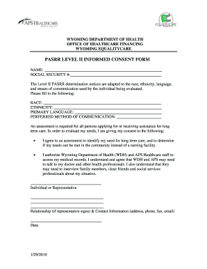 Fillable Online PASRR LEVEL II INFORMED CONSENT FORM Fax Email ...