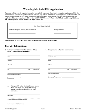 Fillable Online Wyoming Medicaid EDI Application Fax Email