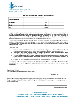Amazing Karis Group Medical Information Release Form