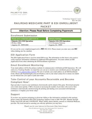 Fillable Online Railroad Medicare EDI Enrollment Packet. CMS-855 ...