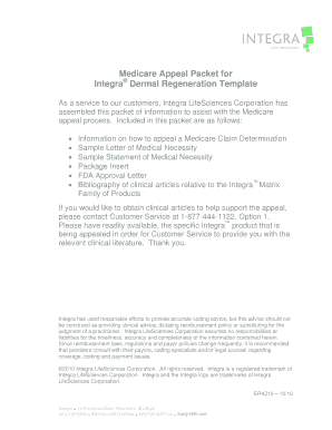 Medicare Appeal Packet for Integra Dermal Regeneration Template