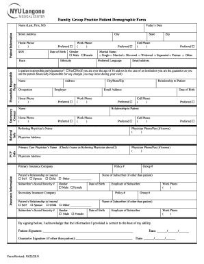 Patient Demographic Fillable Form - Fill Online, Printable ...
