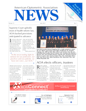 89ce09d1f75 AOA News Volume 51 Number 1 July 2012. American Optometric Association News  Volume 51 Number