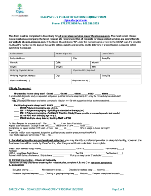 SLEEP STUDY PRECERTIFICATION REQUEST FORM Phone: 877.877 ...