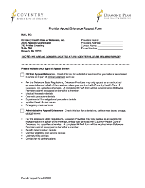 Fillable Online Provider Appeal/Grievance Request Form - Coventry ...