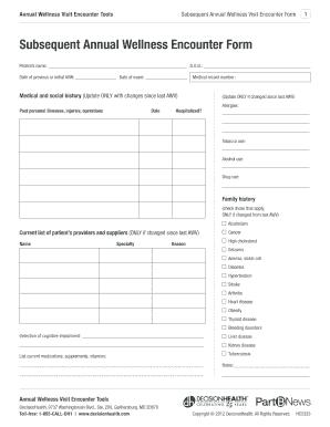 annual wellness visit encounter form - Edit, Fill, Print