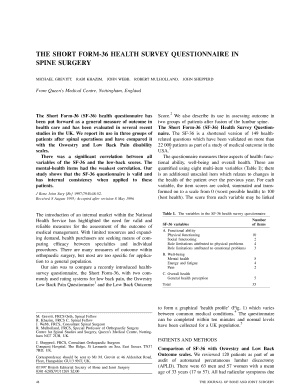 The short form-36 health survey questionnaire in spine ... - Bone & Joint - asipp