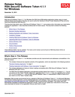 Fillable Online Release Notes RSA SecurID Software Token 4 1