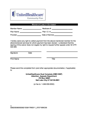 Fillable Online WAIVER OF LIABILITY STATEMENT - Community Plan ...