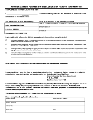 Delta Dental HIPAA Authorization Form