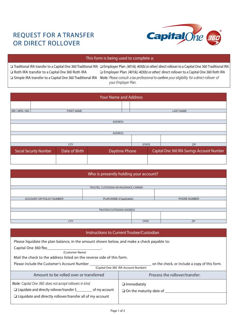 Capital 360 Ira Transfer Online Fill In Form - Fill Online