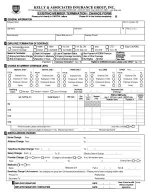 Existing Member Benefit Termination/Change Form - Kelly ...