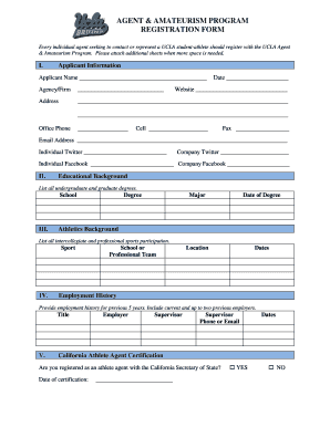 Agent Registration Form - UCLA Athletics