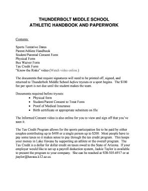 sports physical form arizona  Fillable Online havasu k11 az Download Athletic Handbook and ...