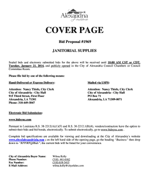 Fillable Online COVER PAGE Bid Proposal #1969 JANITORIAL SUPPLIES ...