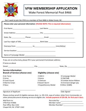 37466523 Vfw Membership Application Form Fillable on lions club membership, golf membership, vietnam veterans of america membership, nra membership,