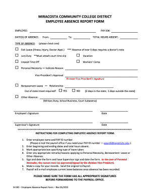 fillable online miracosta employee absence report form b 100