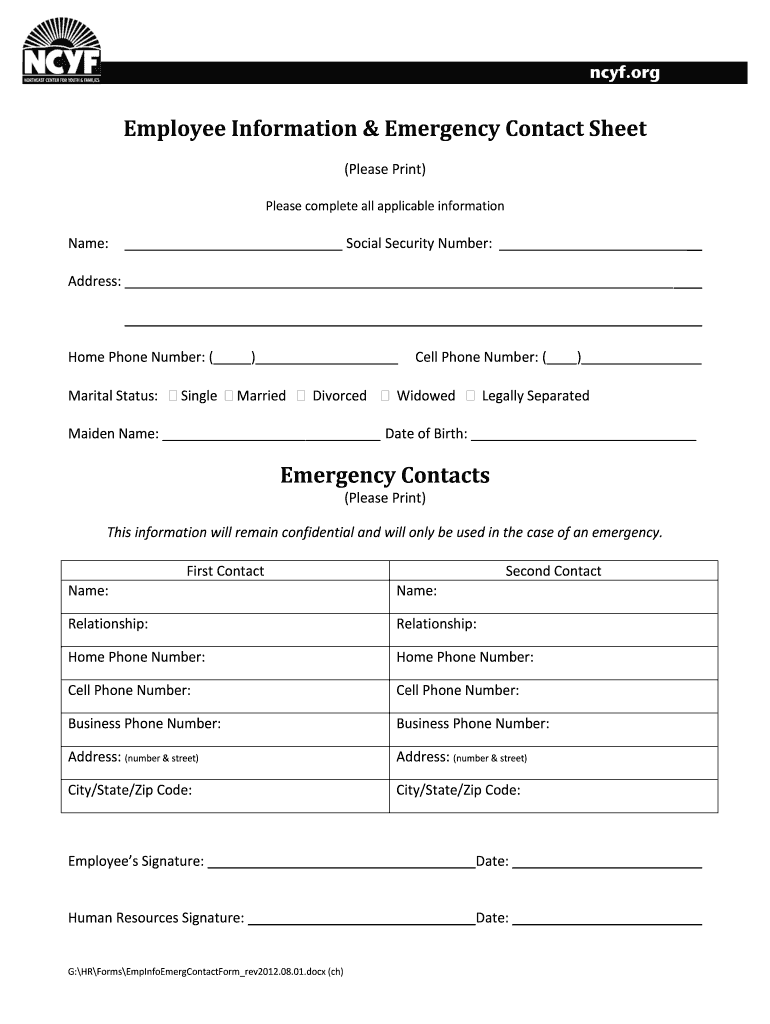 Canadian Emergency Contact Form - Fill Online, Printable ...