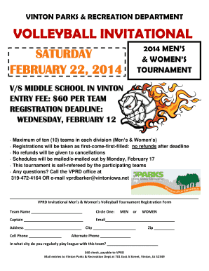 Fillable Online Volleyball Tournament registration form - Vinton ...