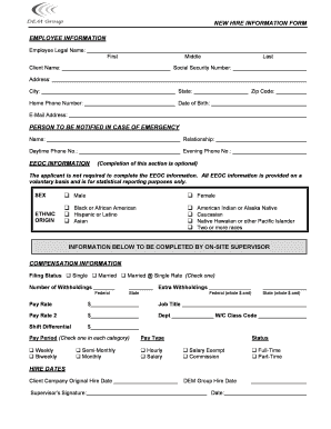 Fillable Online NEW HIRE INFORMATION FORM EMPLOYEE ... - Delta ...
