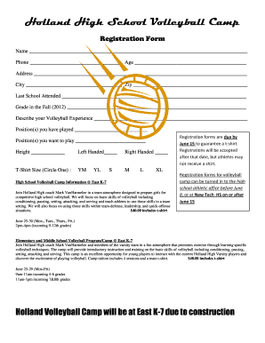 High School Volleyball Camp Registration Form - Fill Online ...