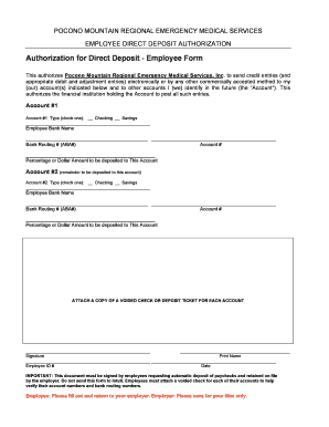 employee direct deposit authorization form intuit - Edit Online ...