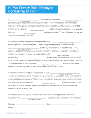 Fillable Online HIPAA Privacy Rule Employee Confidentiality Form ...