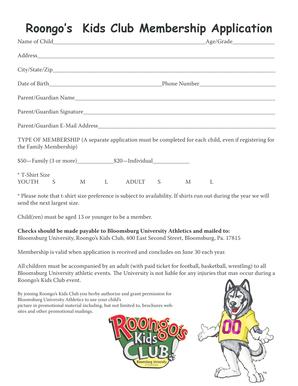 Fillable online register free to download files file name orca bay roongo39s kids club membership bapplicationb bloomsburg huskies fandeluxe Gallery