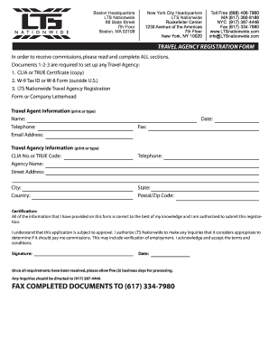 Travel Agency Registration Form - Fill Online, Printable