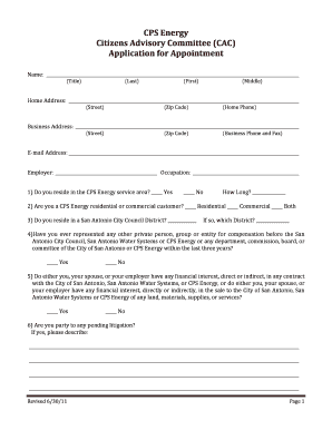 Fillable Online Citizens Advisory Committee Application
