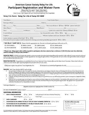 Blank Relay For Life Intake Form - Fill Online, Printable ...