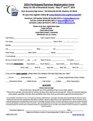 Relay For Life West Brunswick High School Participation Forms ...