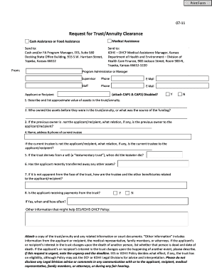 State Department Medical Clearance Form. Request For Trust/Annuity Clearance