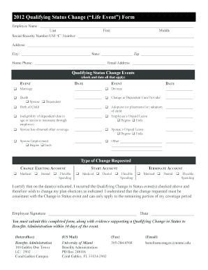 2012 Qualifying Status Change ( Life Event ) Form - University of ... - umshare miami