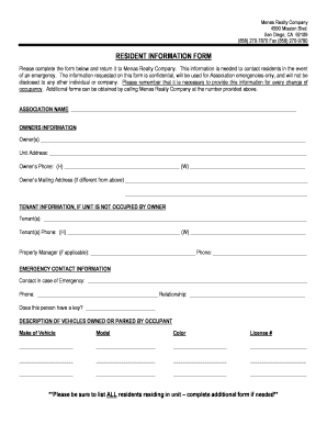 RESIDENT INFORMATION FORM - Menas Realty Company