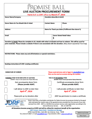 LIVE AUCTION PROCUREMENT FORM - JDRF - sctx jdrf