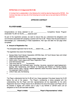 Soccer Player Contract Form  Blank Contract Template