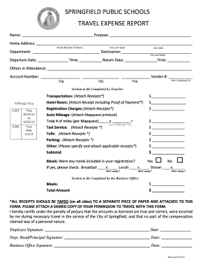springfield public schools expense report form
