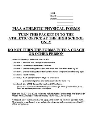 fillable online piaa athletic physical forms shaler area school